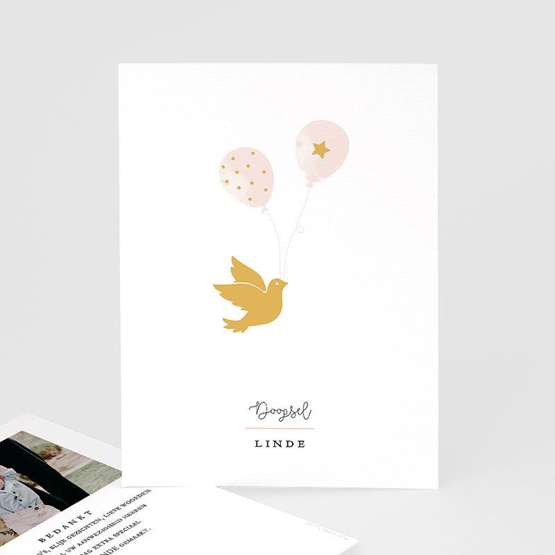Bedankkaart doopviering meisje Gouden duif