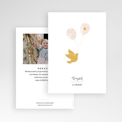 Bedankkaart doopviering meisje Gouden duif pas cher
