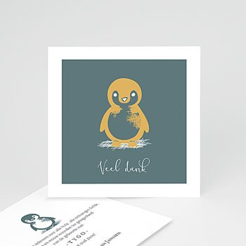 Bedankkaarten geboorte dierenmotief - Kleine pinguïn - 0