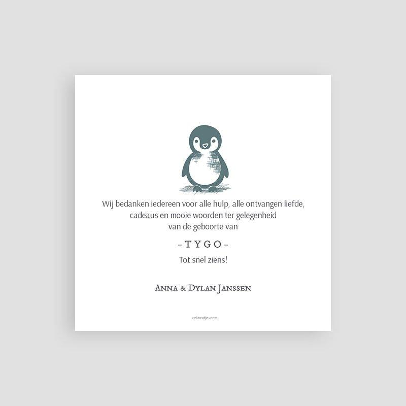 Bedankkaarten geboorte dierenmotief - Kleine pinguïn 63993 thumb