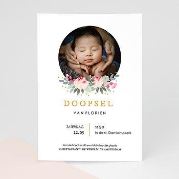 Doopkaartje meisje - Doopsel Bloemen - 0