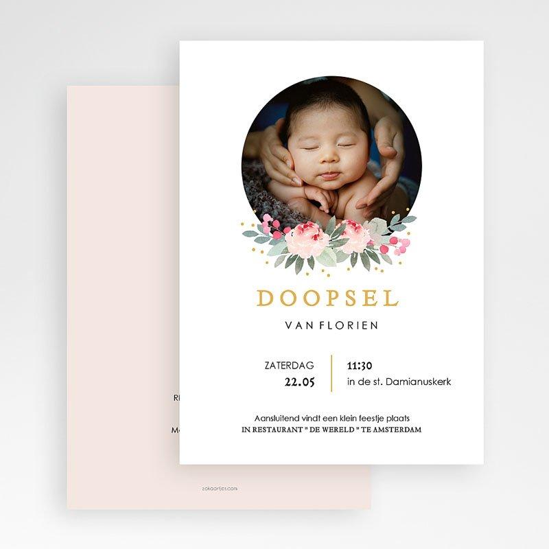 Doopkaartje meisje Doopsel Bloemen gratuit