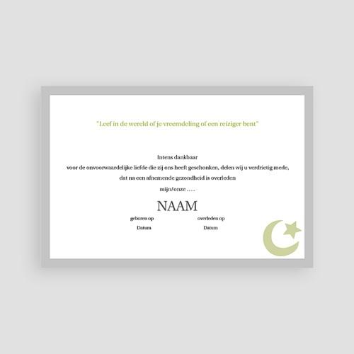 Bedankkaarten overlijden, Islamistisch - Ster en wassende maan, groen 64313 thumb