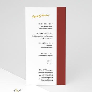 Menukaarten huwelijk - Goud & Bordeaux rood - 0