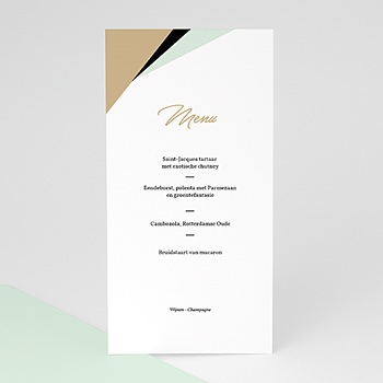 Menukaarten huwelijk - Groen & Goud - 0