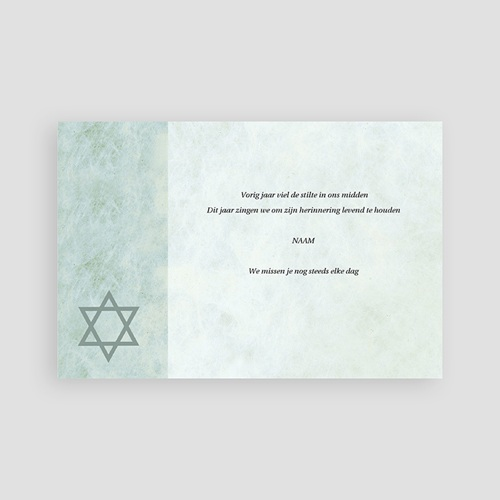 Bedankkaarten overlijden, Joods In memorium, Davidster pas cher