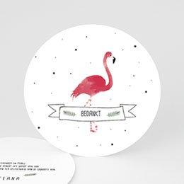 Bedankkaarten geboorte dierenmotief Flamingo girl