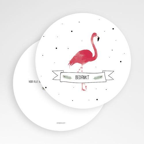 Bedankkaarten geboorte dierenmotief Flamingo girl gratuit