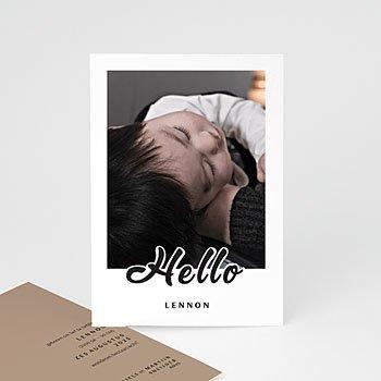 Geboortekaartje jongen - Black Hello - 0