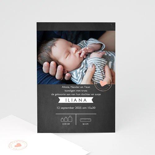 Geboortekaartjes Meisje Lief Krijtbord