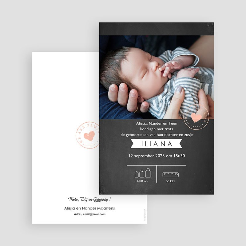 Geboortekaartjes Meisje Lief Krijtbord gratuit