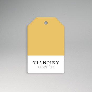 Etiket geboorte - Tweekleurig (geel-wit) - 0