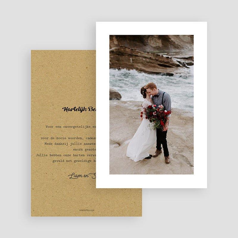 Bedankkaarten huwelijk Kraft Love gratuit