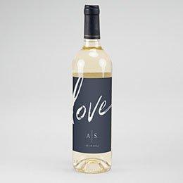 Etiket Voor Wijnfles Love blue