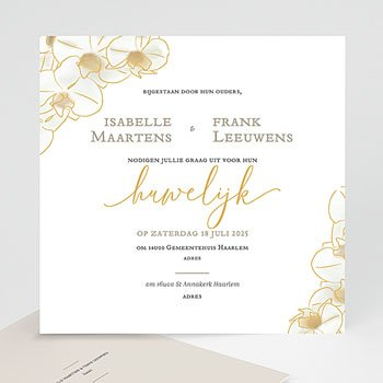 Exclusieve trouwkaarten - Golden Orchids - 0