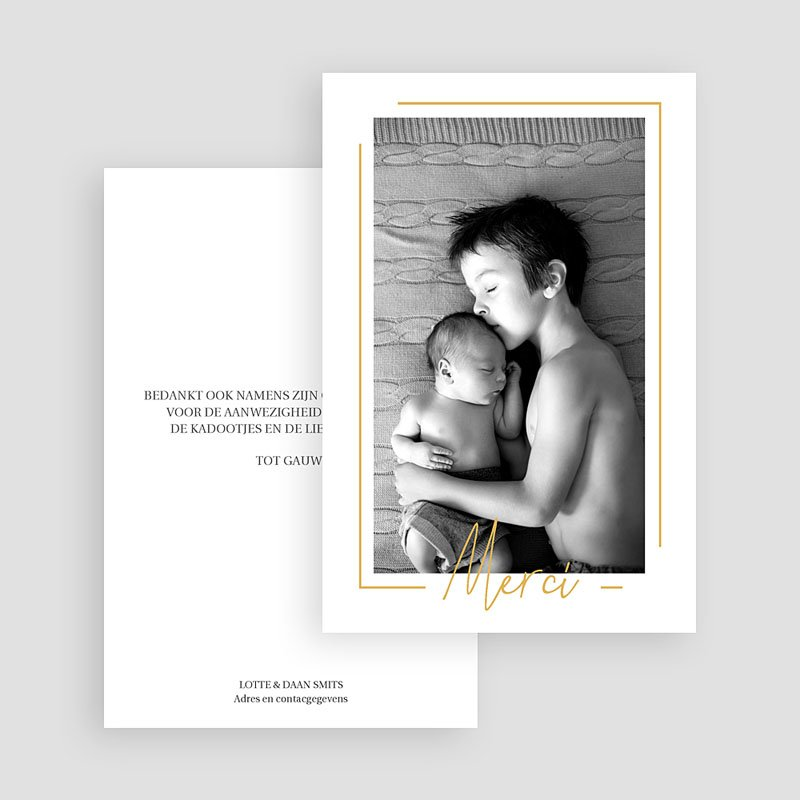 Bedankkaartje geboorte zoon - Baby Boy Gold 66668 thumb