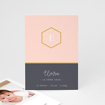 Geboortekaartje meisje - Pastel roze - 0