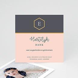 Bedankkaartje geboorte dochter Pastel roze
