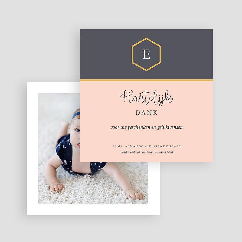 Bedankkaartje geboorte dochter Pastel roze gratuit