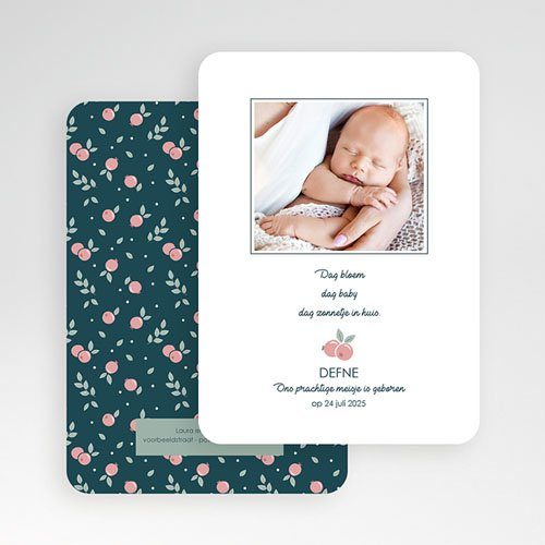 Geboortekaartjes met Foto Wild Berry gratuit