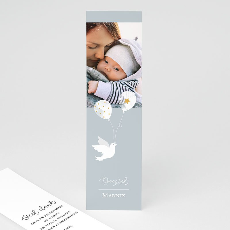 Bedankkaart doopviering jongen Peaceful 2