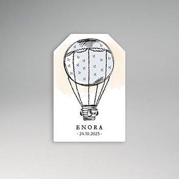 Etiket geboorte - Luchtballon - 0