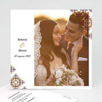Bedankkaarten huwelijk met foto - Rood Oosterse - 0