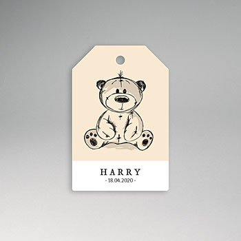 Etiket geboorte Vintage Teddy Bear
