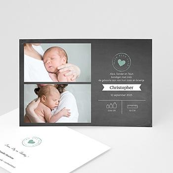 Geboortekaartje jongen - Chalkboard heart - 0