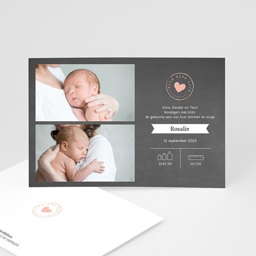 Geboortekaartje meisje - Schoolbord hart 67692 thumb