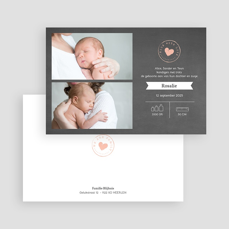 Geboortekaartje meisje - Schoolbord hart 67694 thumb