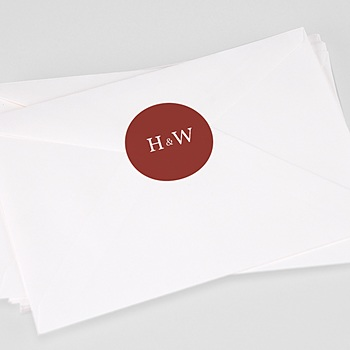 Stickers Huwelijk - Burgundy initials - 0