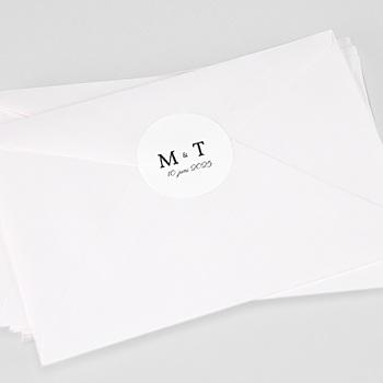 Stickers Huwelijk - White initials - 0