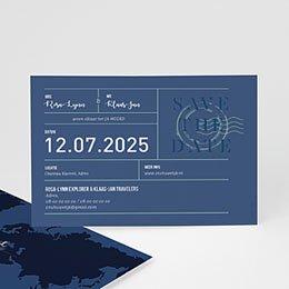 Save the date Huwelijk Blauw Wedding Pass