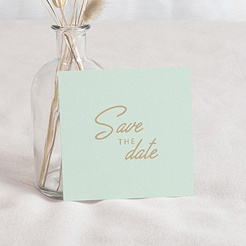 Save the date kaartjes Groen & Goudfolie