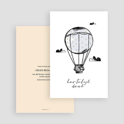 Bedankkaartjes geboorte zonder foto Luchtballon gratuit
