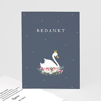 Bedankkaartje geboorte dochter - Prinses zwaan - 0