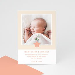 Bedankkaartje geboorte dochter Pink Milky Way