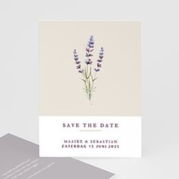 Save the date kaartjes Lavendel