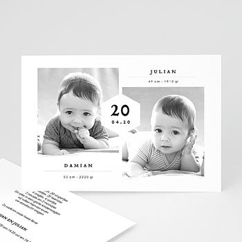 Geboortekaartjes tweelingen - Tweelingen Jongens - 0