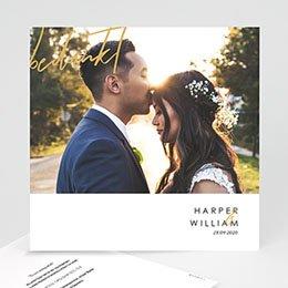 Bedankkaarten huwelijk met foto Gold & Bordeaux