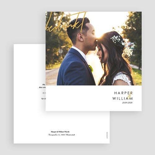 Bedankkaarten huwelijk met foto - Gold & Bordeaux 69369 thumb