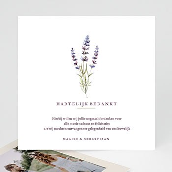 Bedankkaarten huwelijk zonder foto's - Lavendel - 0