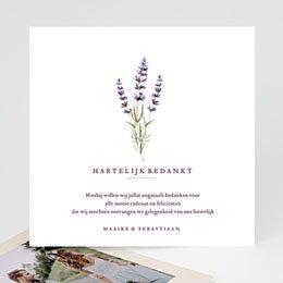 Bedankkaarten huwelijk zonder foto's Lavendel