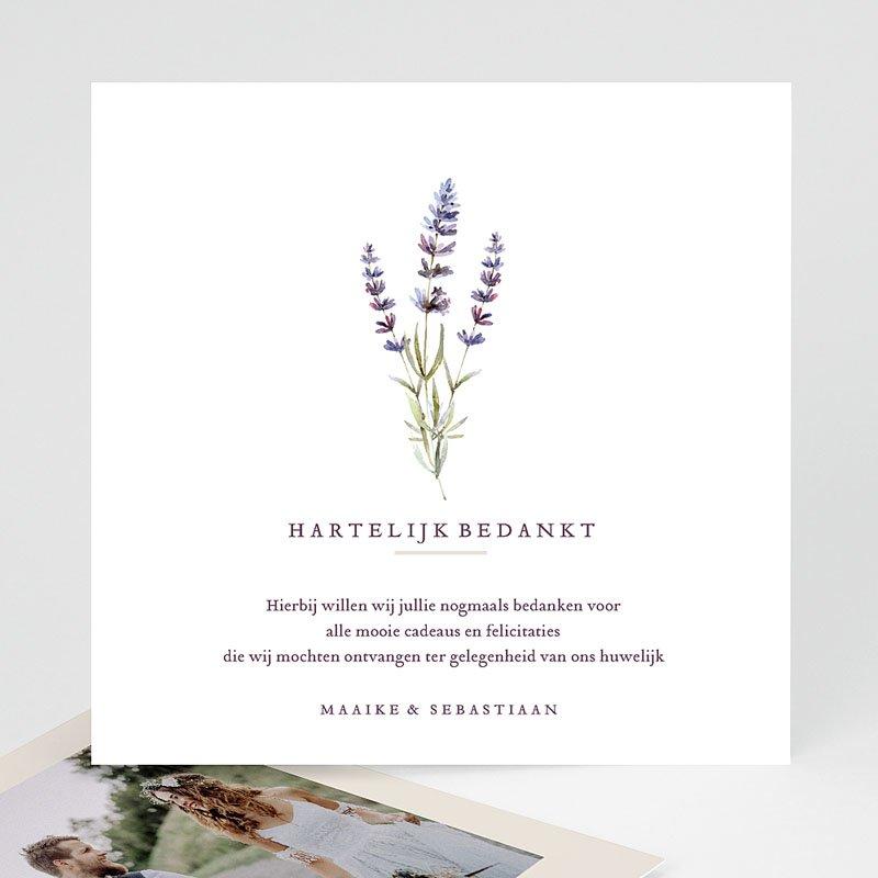 Bedankkaarten huwelijk zonder foto's - Lavendel 69511 thumb