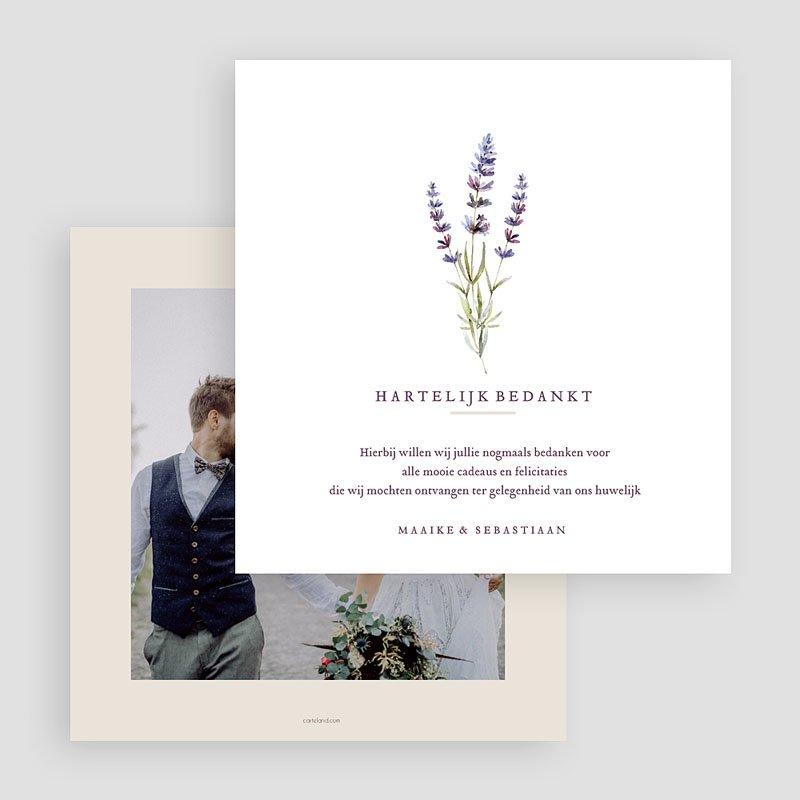 Bedankkaarten huwelijk zonder foto's - Lavendel 69513 thumb