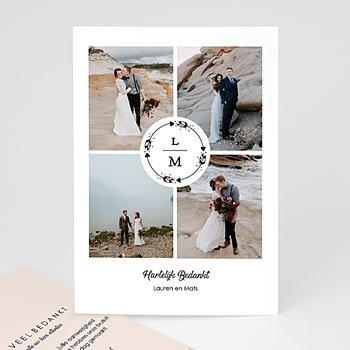 Bedankkaarten huwelijk met foto - Krans Boho - 0