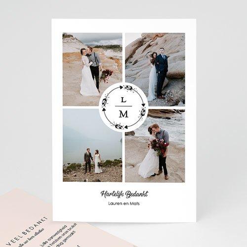 Bedankkaarten huwelijk met foto - Krans Boho 69742 thumb