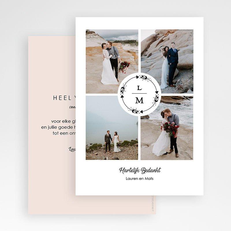 Bedankkaarten huwelijk met foto Krans Boho gratuit