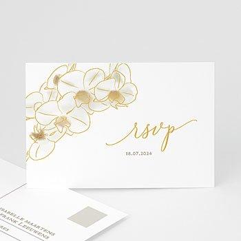 Antwoordkaart-huwelijk Golden Orchids